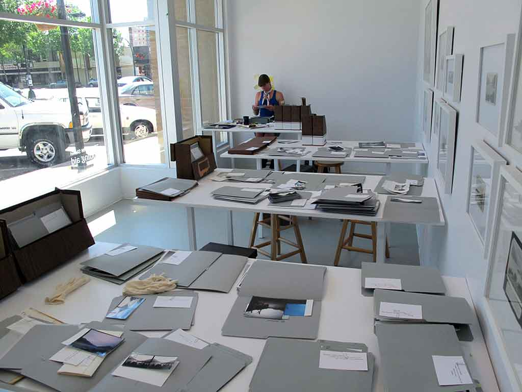 Photograph showing installation of artwork Finding Aid at Southern Alberta Art Gallery, Summer 2010